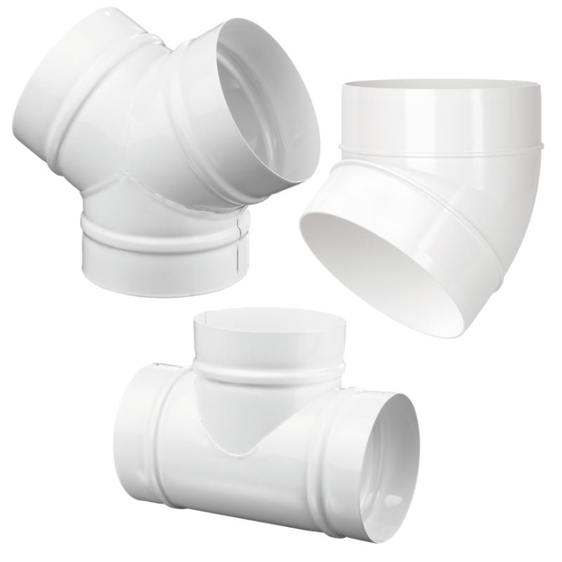 Монтажные элементы и крепеж Пластиковые воздуховоды, тройники, переходы отводы и тд